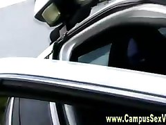 College teens fuck and suck in cop car
